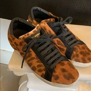 Saint Laurent Leopard Court Sneakers sz 37